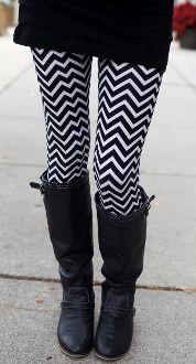 Black & White Chevron Print Leggings $12.99!!