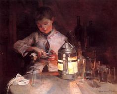 The Glass Cleaner, At Night-Marianne Stokes (1855 – 1927, Austrian-born English)