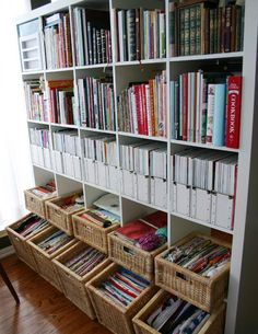 IKEA Expedit - the organization capabilities are astounding Bookshelf Organization, Office Organization, Household Organization, Office Storage, Ikea Regal Expedit, Craft Room Storage, Sewing Rooms, Staying Organized, Organized Office