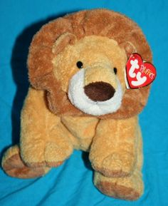 """Ty Pluffies Catnap Lion soft brown tan plush stuffed animal 2002 baby cat 9"""" tag"""
