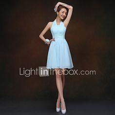 Bridesmaid Dress Short / Mini Lace-up - Sheath / Column Halter with Ruching 2017 - $49.99