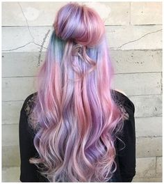 Cute Hair Colors, Cool Hair Color, Pelo Multicolor, Cotton Candy Hair, Dyed Hair Pastel, One Step, Brunette Color, Coloured Hair, Rainbow Hair