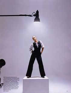 Vogue 2009 Kate Moss vintage Bowie:  Vest and trousers by Ola Hudson from 1976.
