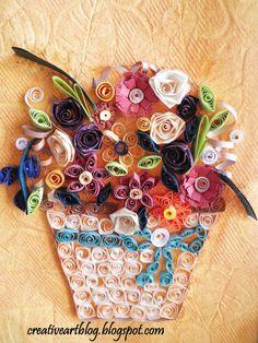 creative art: QUILLING FLOWER BASKET