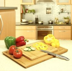 1EasyLife 100% Natural Bamboo Cutting Board Set - Great to use as cutting boards or natural appetizer serving trays.