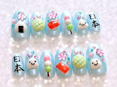 Japanese food, fake food, food jewelry, kawaii food, acrylic nails,  press on nails, yellow green, onigiri, dango, kanji, sushi nails
