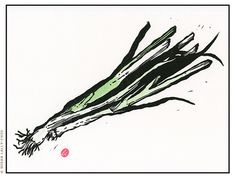 """""""Green Onions"""" Linocut with watercolor By Susan Lally-Chiu"""