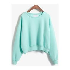 SheIn(sheinside) Round Neck Crop Green Sweatshirt (214.290 IDR) ❤ liked on Polyvore featuring tops, hoodies, sweatshirts, sweaters, green, long sleeve crop top, green top, sweater pullover, cropped sweatshirt and long sleeve cotton tops