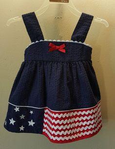 Rare, Too! Girls 6-9 months red white blue patriotic flag sleeveless dress stars #RareToo #CasualParty