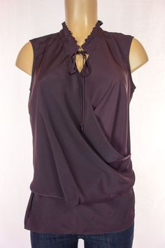 09bd1498ba GHARANI STROK Top Size M Plum Sleeveless Drape Front Career Work   GharaniStrok  Blouse