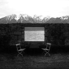 Le Corbusier + Pierre Jeanneret, VIlla Le Lac. Lake Geneva, Switzerland. Wall picture window.