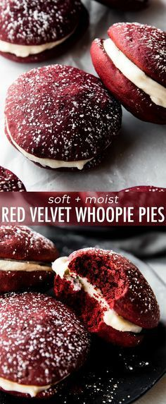 How to make moist and soft red velvet whoopie pies filled with cream cheese filling! Cookie recipe on sallysbakingaddiction com is part of Red velvet whoopie pies - Köstliche Desserts, Delicious Desserts, Dessert Recipes, Yummy Food, Dessert Ideas, Baking Recipes, Cookie Recipes, Cupcake Recipes, Whoopie Pie Filling