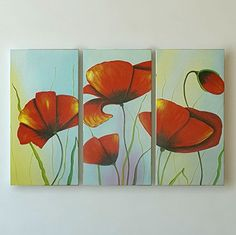 """The Red Flowers"" Landscape Wall Art By Gefii Ready to Hang gefii http://www.amazon.com/dp/B00Q2JK6UW/ref=cm_sw_r_pi_dp_jQLEvb1E5M1RT"