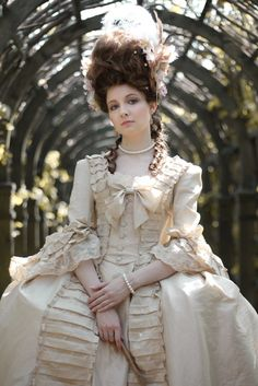 neo- 18th century rococo fashion; dress reproduction