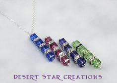 Sapphire Swarovski Cube Drop Pendant Silver Necklace, Color Choice