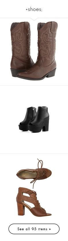 """""""+shoes;"""" by lexchus ❤ liked on Polyvore featuring shoes, boots, brown, mid-calf boots, brown cowboy boots, western style boots, brown knee high boots, pointy cowboy boots, knee high platform boots and ankle booties"""