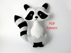 This listing is for a PDF felt sewing pattern. The Raccoon measures approximately 8 tall and 6 wide. Included in this 8 page PDF file: - List of materials needed - Full size pattern pieces - Step by step Instructions with photos - Tutorials for required stitches Level of difficulty: