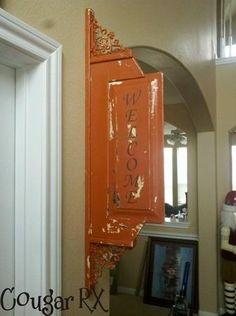 DIY::Welcome Sign from repurposed cupboard door. Or headboard ...