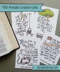 This freebie is by http://MaryDeanDraws.com and is a selection of hand illustrated Scripture Cards. She created them for a Church Event but decided to offer them as a Free printable on her website. Great…