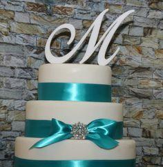 Custom - 5 inch Monogram Acrylic Wedding Cake Topper in Any Letter A B C D E F G H I J K L M N O P Q R S T U V W X Y Z on Etsy, $15.00