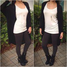 Black Long Cardigan  Basic White Tank Dark Olive Leggings Leather Booties