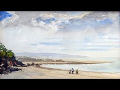 Watercoloring sky sand and sea - YouTube