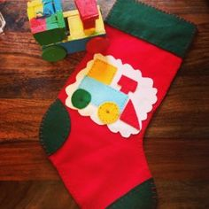 Bene's Christmas Stocking. A very simple home made Christmas stocking for a 1 year old train fan.
