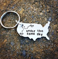 """LARGER USA Keychain 1.5"""" x 1"""" - Best Friend Gift - Couples Long Distance Gift With Personalized Message"""