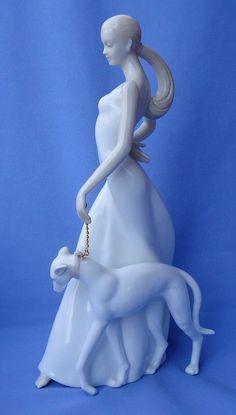 "1980s Lady Walking Greyhound 11"" | eBay"