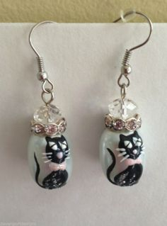 Black Cat Earrings White Glass Clear Stone Hand Painted Jewelry Halloween Gift