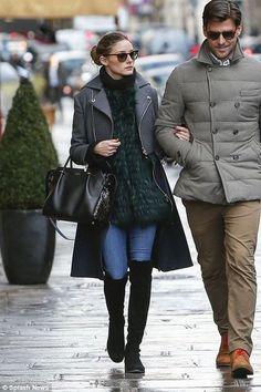 Olivia Palermo wearing Stuart Weitzman 50/50 boots Nina Ricci Marche bag