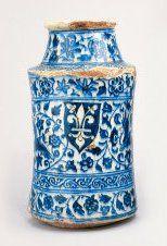 Apothekerspot met stadswapen van Florence, Damascus, Syrië, blauwwit kiezelaardewerk, begin 15de eeuw