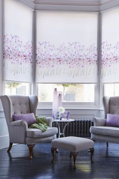 Bright pops of pink highlights within a room add a wonderful fun feel keep  the rest of your interior plain with whites, cream and grey. Bring different textures in by using glass, fabric and pattern Our Watercolour Roller Blind is a perfect addition to this theme.