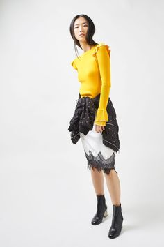 Tipped Frill Crop Top - Tops - Clothing - Topshop