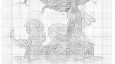 Cross stitch - fairies: Mermaid with a turtle (chart - part B)