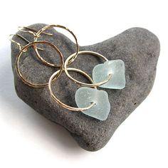 Gold Hoop Earrings Aqua Seaglass Hammered by HanaMauiCreations, $35.00