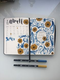 bullet journal april blue and yellow