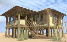 Cottage Plan: 793 Square Feet, 1-2 Bedrooms, 1 Bathroom - 286-00090 Tiny Beach House, Small Beach Houses, Beach House Plans, House Floor Plans, Tiny House, Stilt House Plans, House On Stilts Plans, Beach House Kitchens, Cottage Style Homes
