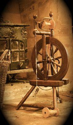 Spinning Wheel. This looks like my first spinning wheel, simple castle wheel.  Norwegian I believe.
