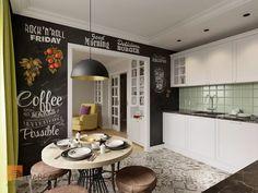 Фото интерьер кухни из проекта «Дизайн проект трехкомнатной квартиры 88 кв.м., ЖК «Северная Долина», американская классика с элементами LOFT»