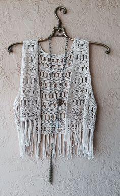 Image of Bohemian Coachella fringe crochet vest for summer of love