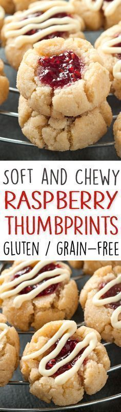 Soft and Chewy Raspberry Thumbprint Cookies – Great with almond or lemon extracts! grain-free, gluten-free, dairy-free (use coconut sugar instead) (soft sugar cookies vegan) Gluten Free Deserts, Gluten Free Sweets, Foods With Gluten, Gluten Free Cooking, Dairy Free Recipes, Flour Recipes, Pasta Recipes, Paleo Cookies, Coconut Cookies