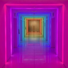 Lights transform this hallway neon aesthetic, rainbow aesthetic Rainbow Aesthetic, Purple Aesthetic, Neon Rainbow, Over The Rainbow, Rainbow Theme, Living At Home, Neon Lighting, Neon Colors, Light Art