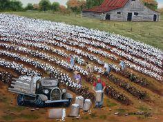 cotton field with barn | Country Scene Picking Cotton Field Black Truck Old Barn Folk Art Print ...