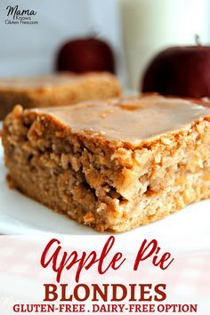 Gluten-Free Apple Pie Blondies with a Dairy-Free option. Super easy gluten-free Apple Pie Blondies are full of delicious fall cinnamon apples in a soft, blonde brownie topped with a maple cinnamon glaze. Recipe from www.mamaknowsglutenfree.com #glutenfree #applerecipe #fallrecipe #glutenfreedessert #easyglutenfree #glutenfreebaking #fallrecipes
