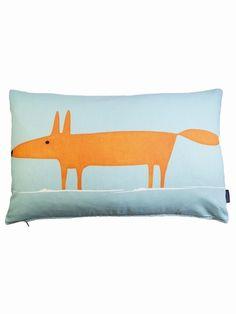 Scion Mr Fox Cushion (Orange / Blue)