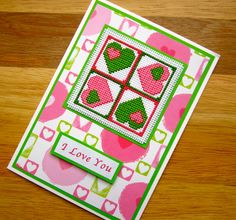I Love You Valentine's Day Handmade Cross by CrossStitchCards