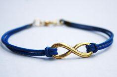 """Eternity-Blaues Leder-Armband """"gold""""#21"""