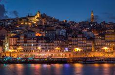 Porto,historic distric, blue hour, via Flickr.