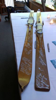 Unique guest book for a ski themed wedding. Ask me how to theme and how to personalize your wedding. www.simplycelebrations.com